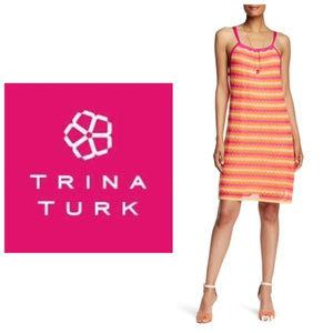 NWT Trina Turk Sz M Pink Orange Summer Dress